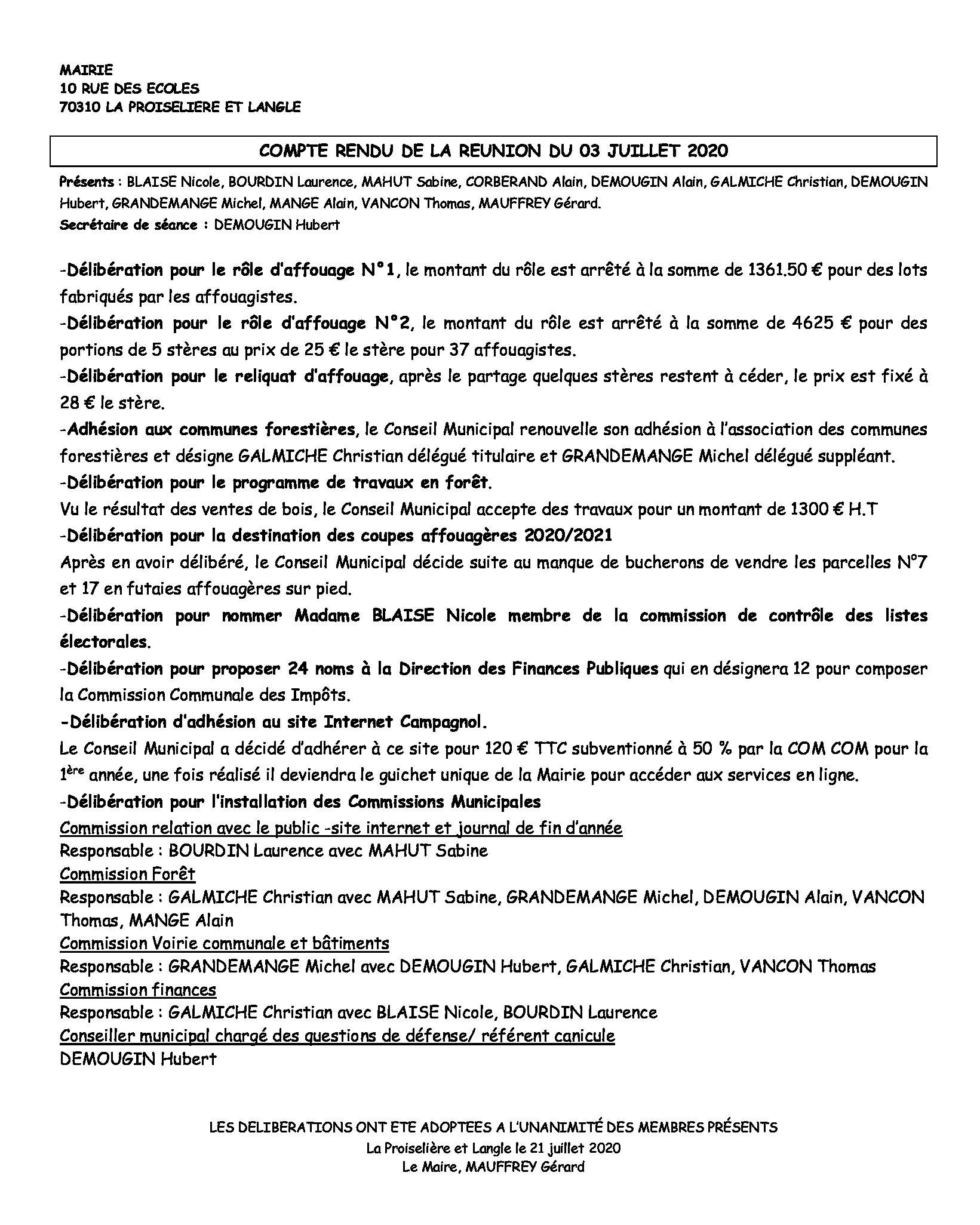 COMPTE RENDU du 03 Juillet 2020