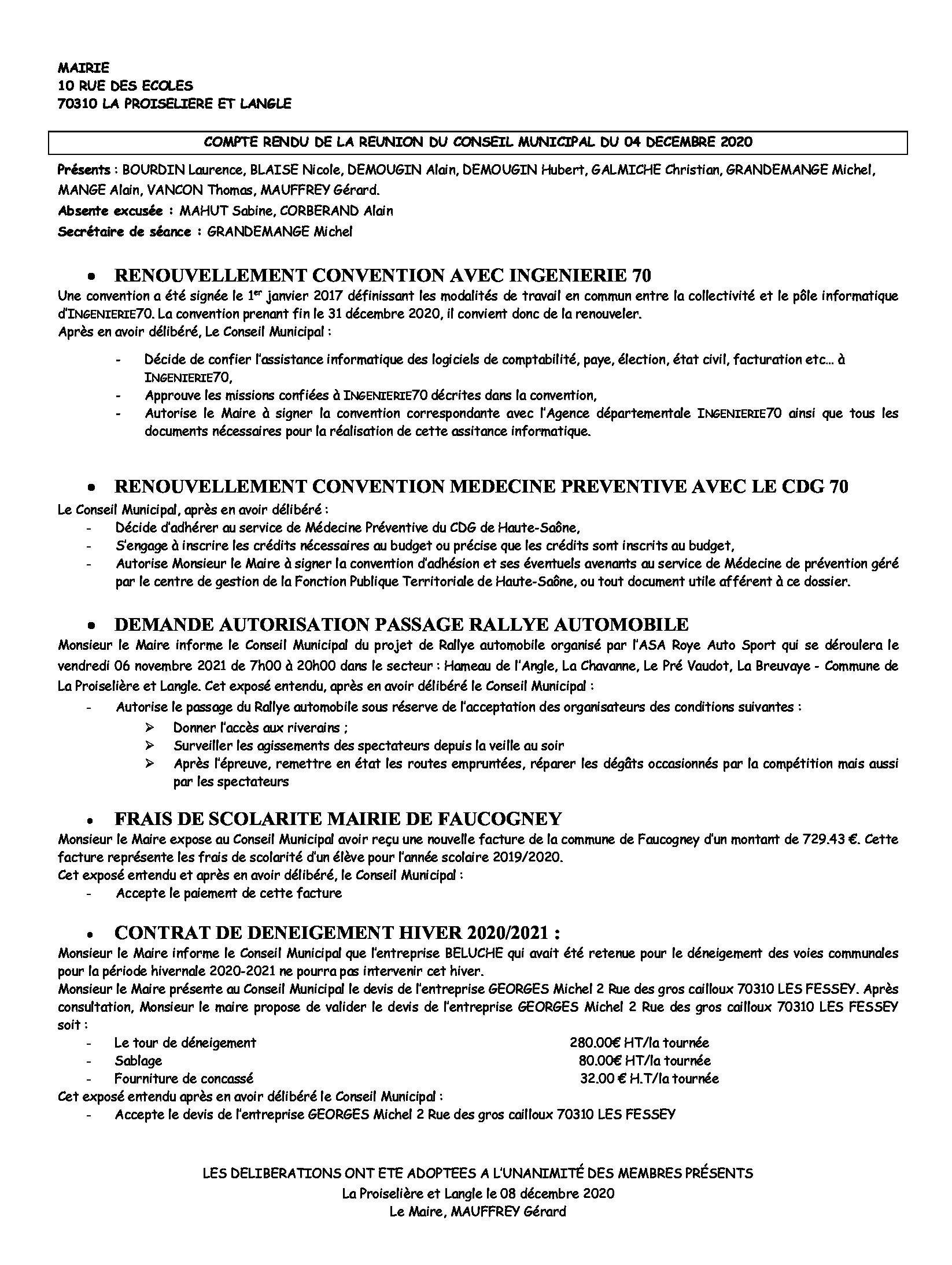 COMPTE RENDU du 04 Décembre 2020