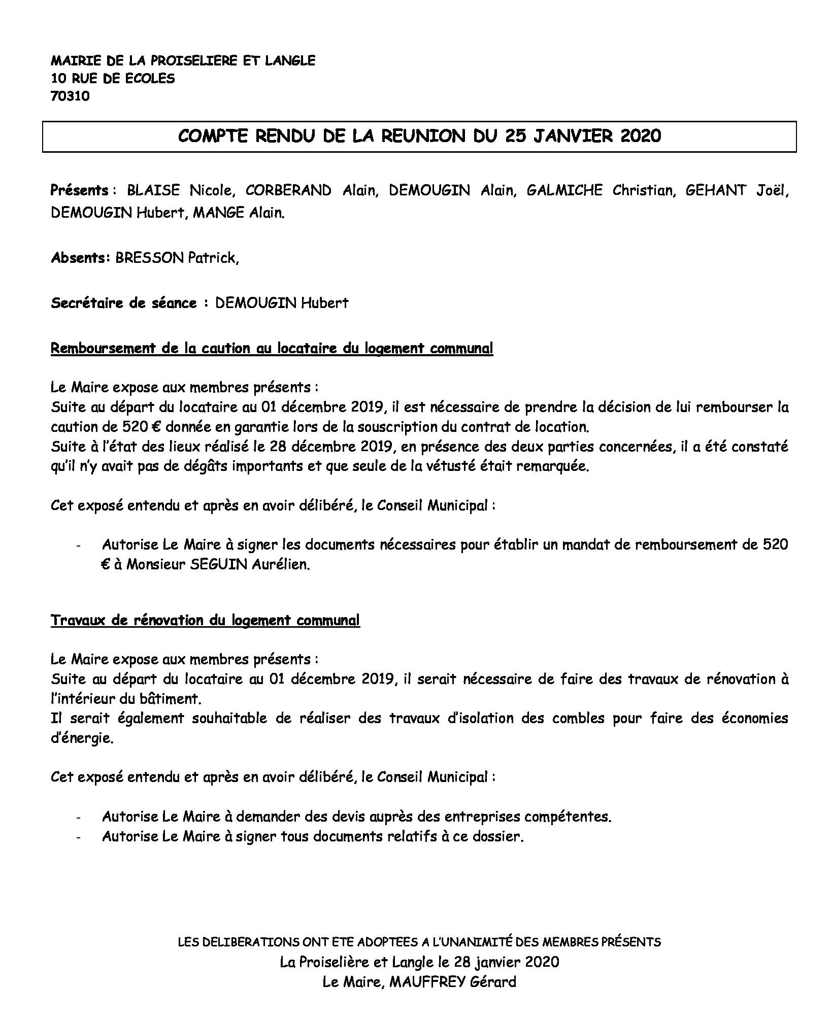 COMPTE RENDU du 25 Janvier 2020