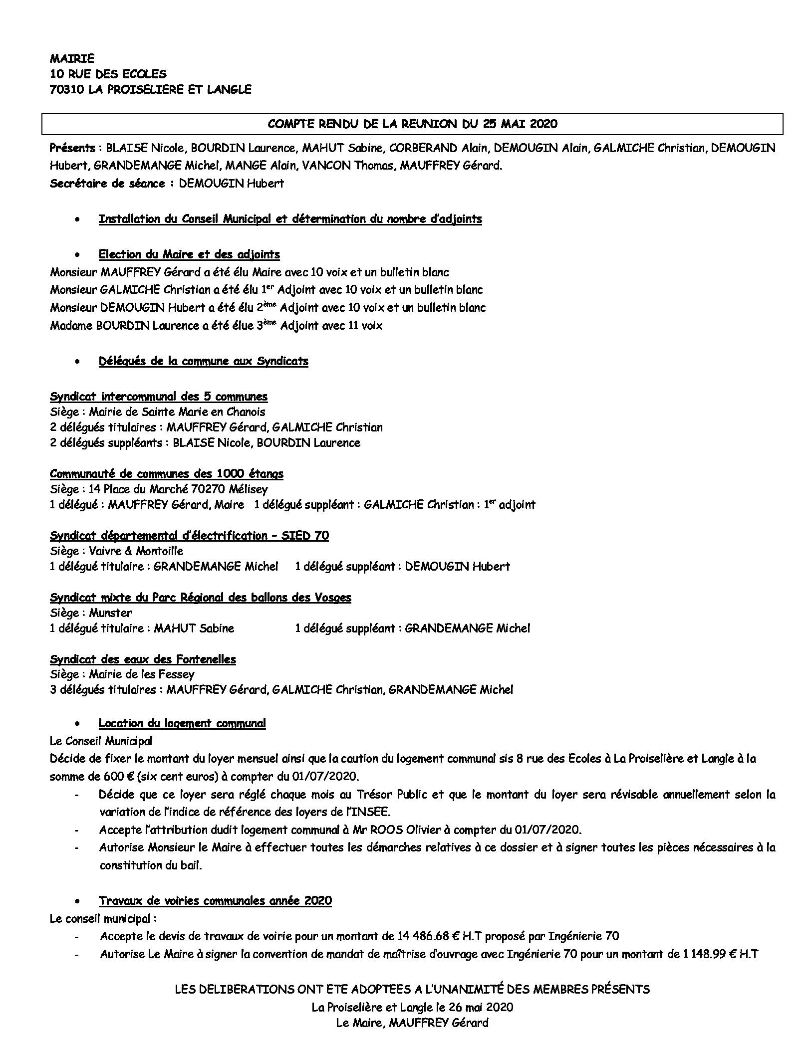 COMPTE RENDU du 25 Mai 2020