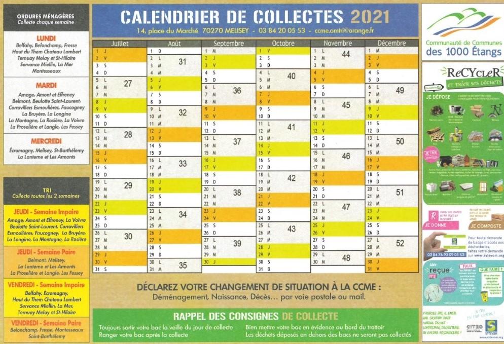 Calendrier Juin – Décembre 2021